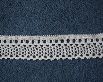 Lace ribbon, crochet lace, wide 3,5 cm white, color 100% cotton, price for 1 metre