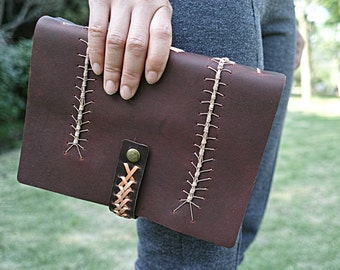 Caterpillar binding Handmade leather journal , blank  notebook ,love letter longstich handbound,unique gift