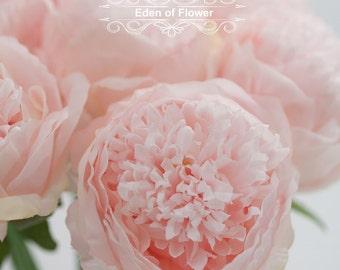 5 Pcs Blush Pink Silk Peony Flowers for Wedding Bridal Bouquets, Home Decoration, Centerpiece, Corsage, Wedding