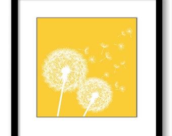 INSTANT DOWNLOAD Yellow White Dandelion Printable Art Print Wall Decor Bathroom Bedroom Custom Modern Miminimalist Flower Nursery