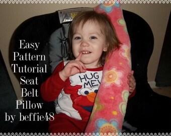 Kids and Toddler, Seat Belt Pillow PATTERN Tutorial, Easy to Make, pdf.