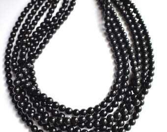 Michelle - Black Glass Bridesmaid Multi Strand Statement Necklace