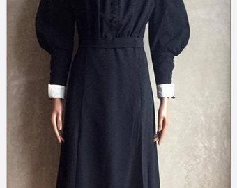Vintage 40 's Dress wool womens black