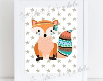 A5 poster for nursery Fox Indian tribal 14.8 cm x 21cm