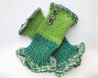 Fingerless Glove Handwarmers - Apple Frilly Fingers - Bright Green Fingerless Wrist warmer Gloves - bright green fingerless Spring gloves