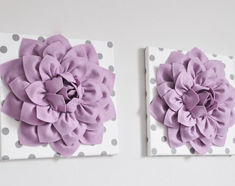 """Girls Wall Decor -Two Lilac Dahlias on Gray and White Hangings 12 x12"""" Canvases Flower Wall Art- Purple Nursery Decor- Polka Dot Wall Decor"""