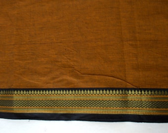 Handloom cotton fabric in  Saffron and Black - One yard Yard  VMC1