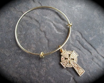 Celtic Cross Adjustable bangle bracelet in gold or silver finish Irish Jewelry
