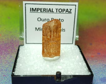 Sale IMPERIAL TOPAZ Natural Terminated Gemstone Crystal In Perky Specimen Box From Brazil
