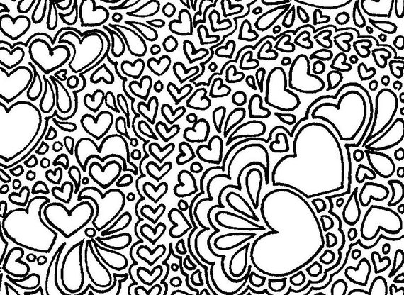 Abstract hearts printable adult coloring page