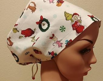 Women's Surgical Cap, Scrub Hat, Chemo Cap, The Grinch