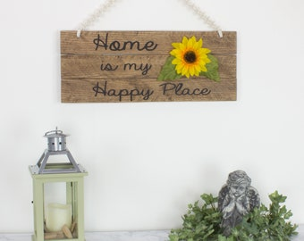 Home Is My Happy Place Welcome Sign Wood Sign Macrame Wall Hanging Home Decor  Wall Decor Entry Way Silk Flower