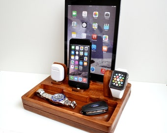 iphone ipad Apple Watch stand docking gift Apple Watch charging station station stand IDOQQ Ultimate 4 (Mahogany) station, iphone X