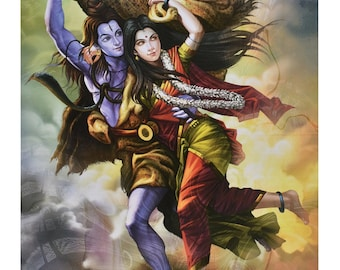 Shiv Parvati Painting Poster In Texture Print Without Frame (25 X 36 Inches)