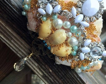 Fantasy Mermaid Pirate Gypsy Shell Rhinestones and Pearls White and Blue Hair Crown Tiara