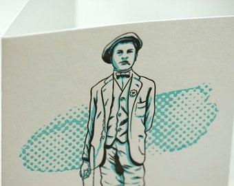 SALE - Letterpress Victorian Rascal Pickpocket Art Print Greeting Card - 60% off