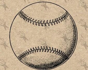 Jahrgang Baseball Ball Schwarzweißfilm Instant Download digitale druckbare Bild Clipart-Grafik - Transfer, Sackleinen, Eisen auf 300dpi