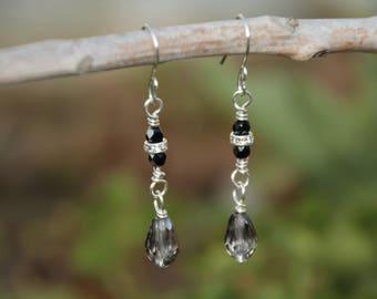Silver N Black Crystal Earrings, Fire Polished Bead Earrings, Silver Drop Earrings