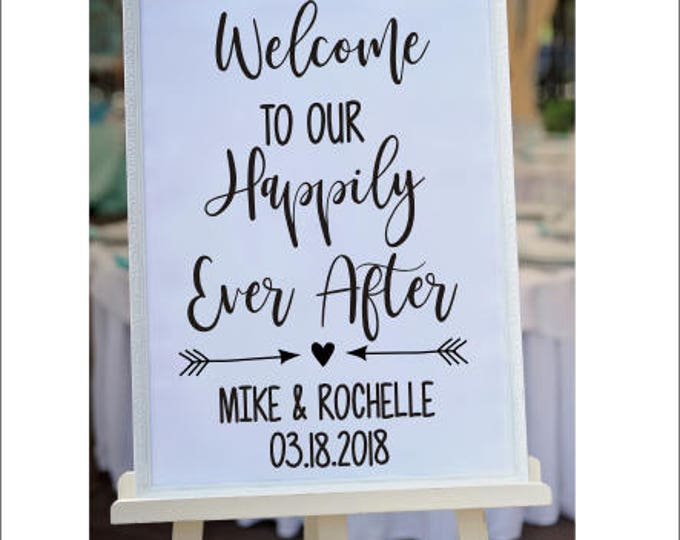 Welcome Wedding Decal Our Happily Ever After Personalized Wedding Decal Bridal Shower Couples Lettering for Chalkboard