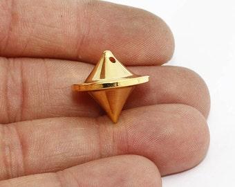 1 Pcs 20mm 24k Shiny Gold Pendulum Pendant , Spike Pendant, solid brass pendulum , geometric, Spike, BRT404