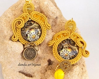 Soutache steampunk earrings boho jewelry beads chandelier earrings bead beads handmade jewelry