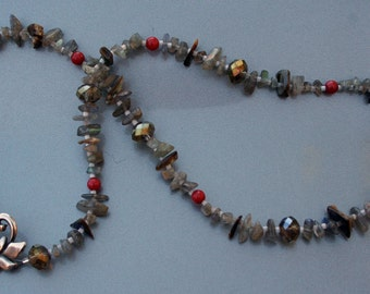 AULD LANG SYNE Necklace (Labradorite, Abalone Shell, Mountain Jade, Czech Glass, Sterling Silver)