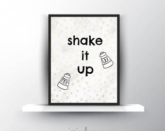 "Kitchen ""Shake it Up"" - Food Instant Download - Kitchen Decor Printable"