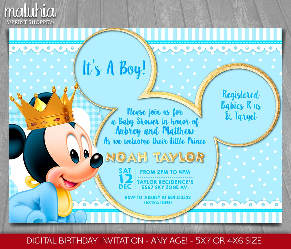 Candid image pertaining to mickey mouse baby shower invitations printable