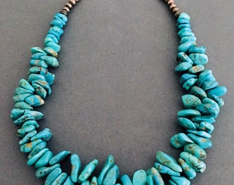 Navajo Turquoise Big Chunky Necklace Sterling Silver, Native American, Hand-Made
