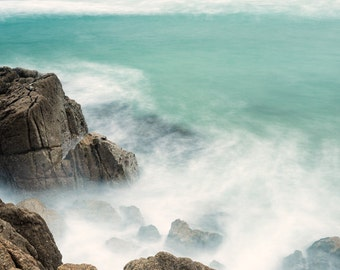 Call of the Sea: Long Exposure Crashing Waves and Rocks, Porthcurno, Cornwall. Oceanscape Photography