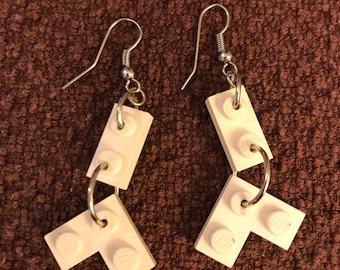 White LEGO Dangly Earrings