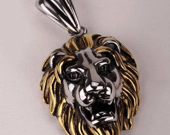 Lion necklace for men women stainless steel pedant antique gold silver jewelry
