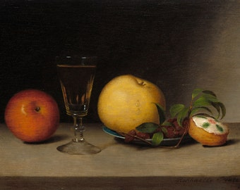 """Raphaelle Peale Still Life : """"Still Life with Apples, Sherry, and Tea Cake"""" (1822) - Giclee Fine Art Print"""