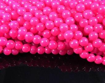 8mm Hot Pink Glass Beads - 1 full strand