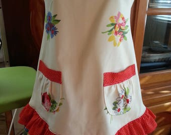 Red Polka Dot/Floral Girl's Apron