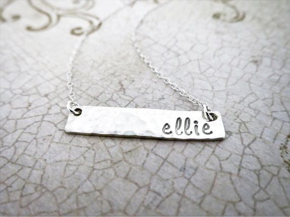 Name Necklace   Sterling Silver Bar Necklace   Silver Name Bar   Script Name   Engraved Name   Hand Stamped Name Jewelry   Custom Jewelry