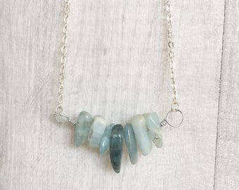 Gift for Sister - Crystal Bar Necklace - Aquamarine Jewellery - Blue Gemstone Necklace - March Birthstone Necklace - Aquamarine Necklace