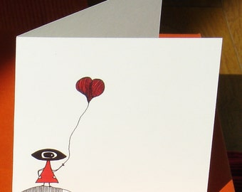 Map Balloon Girl / black/red / square format / illustration / drawing / surrealism / poetic / declaration Love / Love / Valentine's day