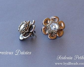 Czech Rose Petals Post Earrings Tutorial - Precious Daisies Earrings - Beading Tutorial by Sidonia