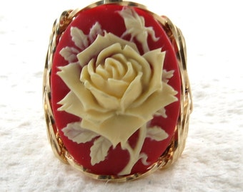 Ivory Rose Cameo Ring 14K Rolled Gold Artisan Jewelry