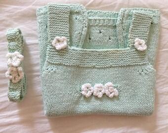 Baby pinafore dress - Flower summer dress -  3-6-12-18-24 months - PDF knitting pattern + free flower headband