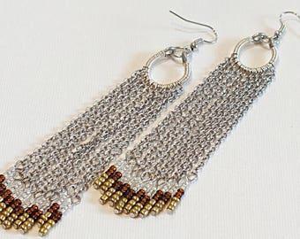 Fringe Dangle Long Earrings