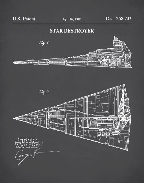 Patent Print Star Wars Star Destroyer Poster Star Wars