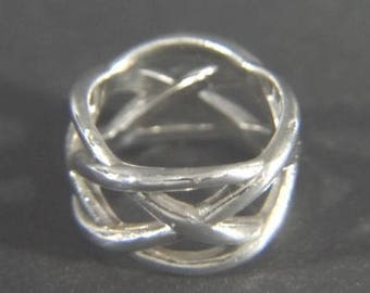 Fun and Fabulous Tiffany & Co. Sterling Silver Crisscross Ring from Italy - Size 5.5 - 6