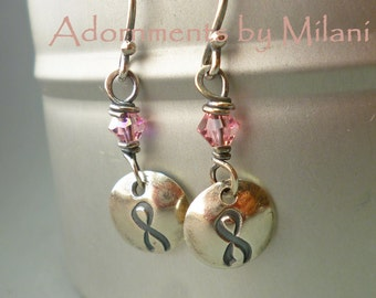 Breast Cancer Awareness Earrings Pink Ribbon Survivor Sterling Silver Beaded Tiny Small