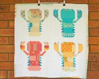 For sale, handmade quilt, 'Lobster Time'. Table Runner, Australian seller,