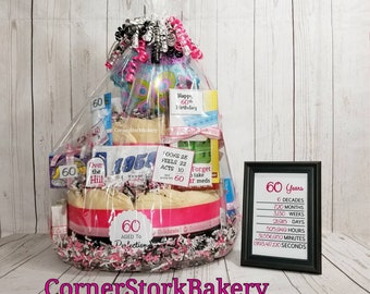 Over the Hill Adult Diaper Cake| Birthday Cakes| Birthday Centerpieces| Birthday Gifts| Over The Hill| Over The Hill Gifts| Gag Gifts| Party