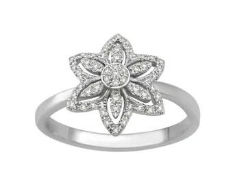 Flower Halo Round Brilliant Cut Diamond Ring
