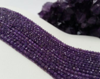 "African Amethyst Faceted Rondelles AA Quality 3-4 mm, 13.5-14""L"