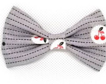 Tart Cherry Bow // cherry bow // grey bow //cherry headbands // cherries // cherry clip